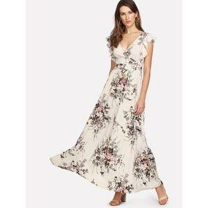 V-Neck Ruffle Trim Surplice Wrap Floral Print Dres